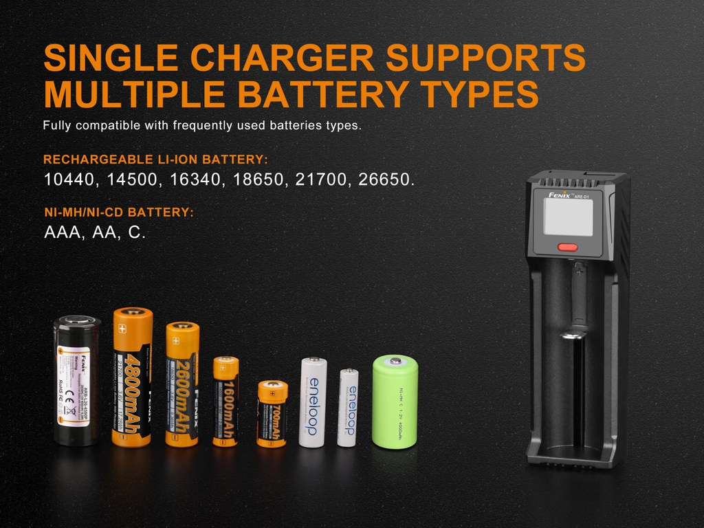 Fenix ARE-A4 Charger AC//DC Charging  for 10440 16340 18650 26650 AA AAA Battery